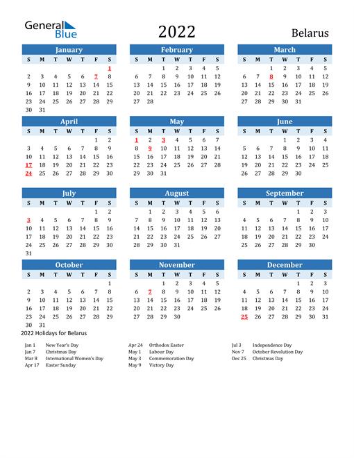 Printable Calendar 2022 with Belarus Holidays
