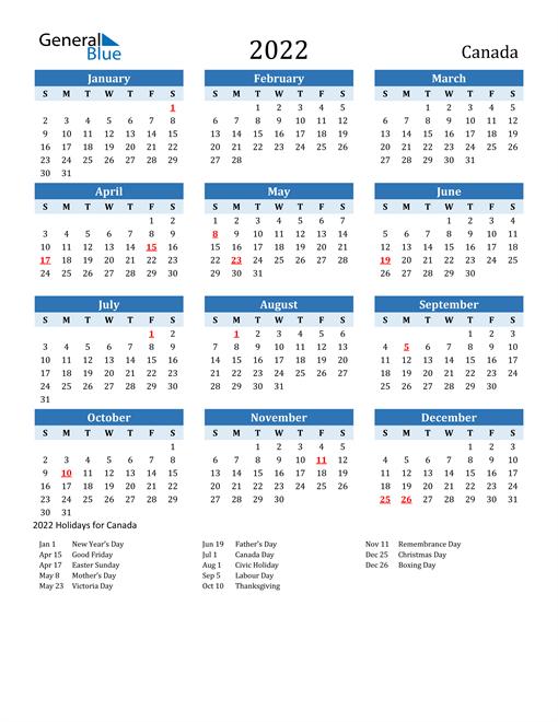 Printable Calendar 2022 with Canada Holidays