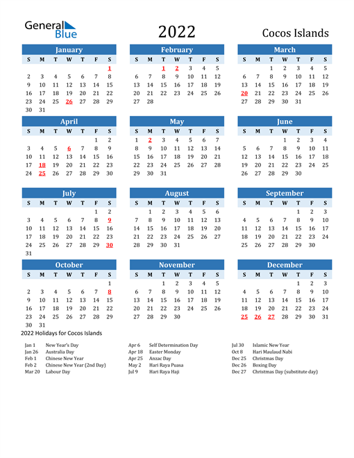 2022 Calendar Chinese New Year.2022 Cocos Islands Calendar With Holidays