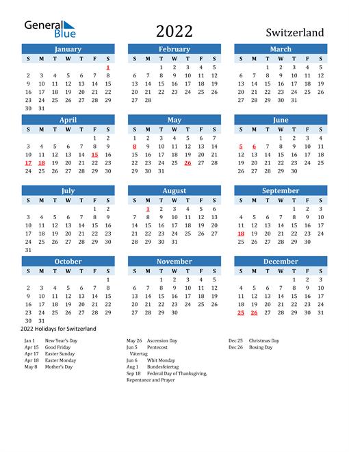 Printable Calendar 2022 with Switzerland Holidays