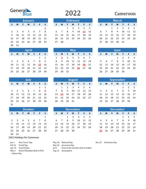 Printable Calendar 2022 with Cameroon Holidays