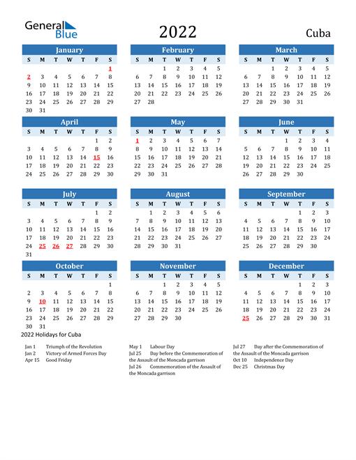 Printable Calendar 2022 with Cuba Holidays