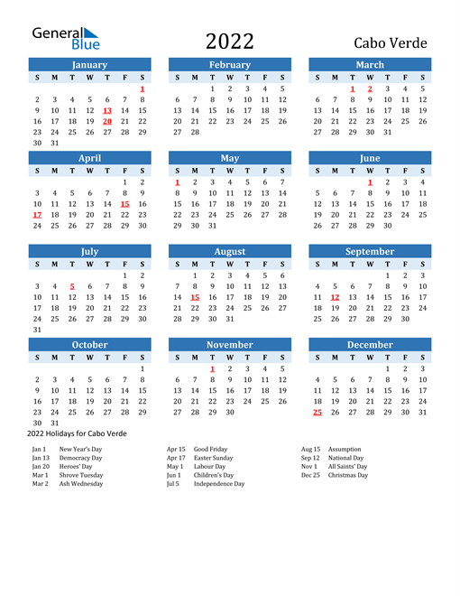Printable Calendar 2022 with Cabo Verde Holidays