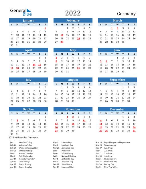 Printable Calendar 2022 with Germany Holidays
