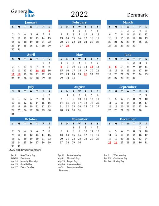 Printable Calendar 2022 with Denmark Holidays