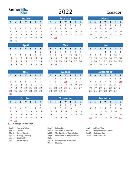Printable Calendar 2022 with Ecuador Holidays