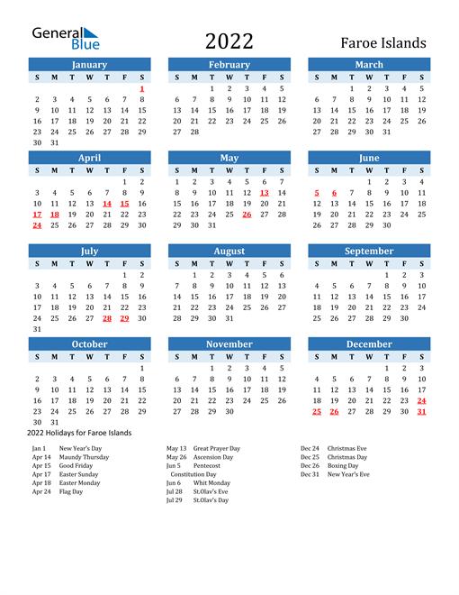 Printable Calendar 2022 with Faroe Islands Holidays