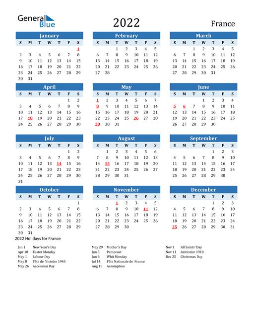 Printable Calendar 2022 with France Holidays