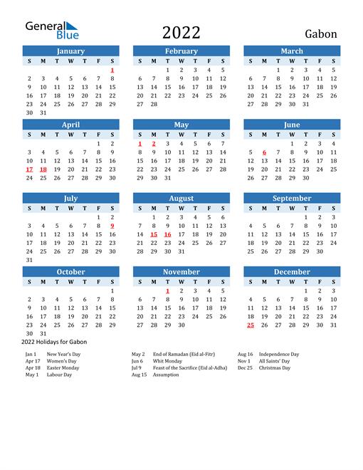 Printable Calendar 2022 with Gabon Holidays