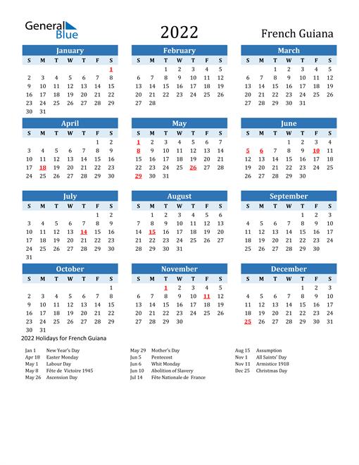 Printable Calendar 2022 with French Guiana Holidays