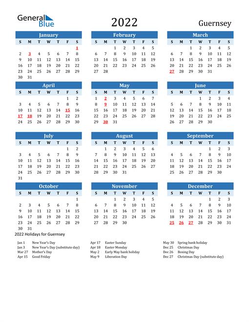 Printable Calendar 2022 with Guernsey Holidays