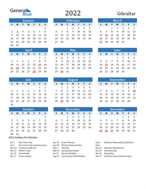 Printable Calendar 2022 with Gibraltar Holidays