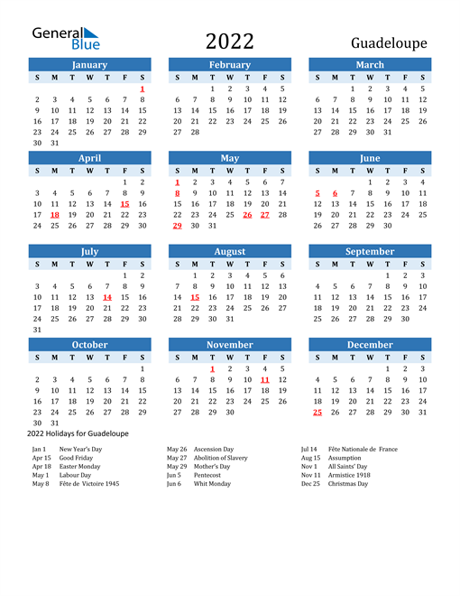 Printable Calendar 2022 with Guadeloupe Holidays