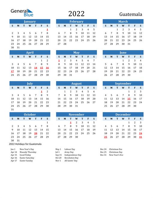 Printable Calendar 2022 with Guatemala Holidays
