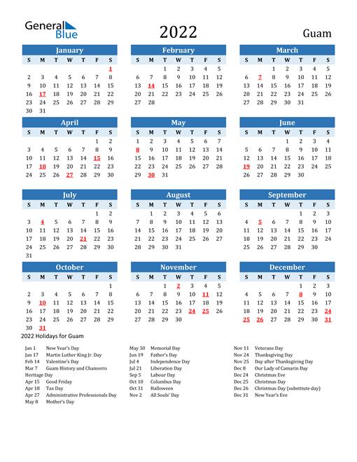 Printable Calendar 2022 with Guam Holidays