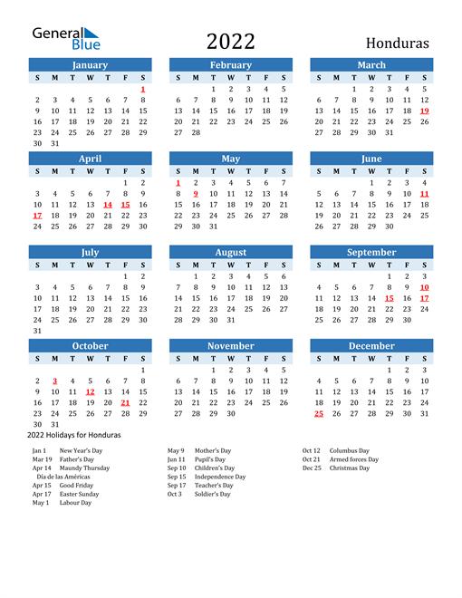 Image of Honduras 2022 Calendar Two-Tone Blue with Holidays