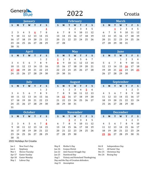 Printable Calendar 2022 with Croatia Holidays