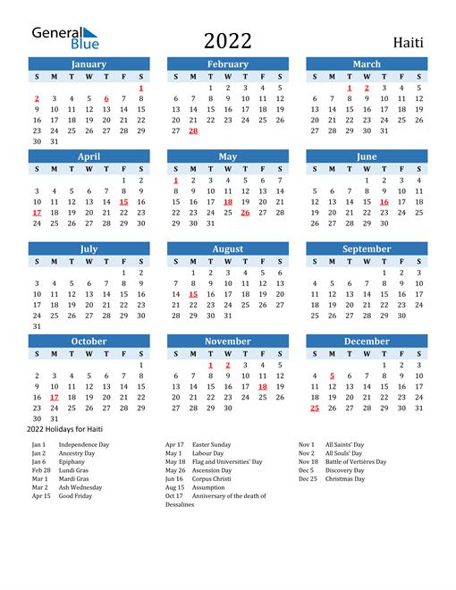 Printable Calendar 2022 with Haiti Holidays