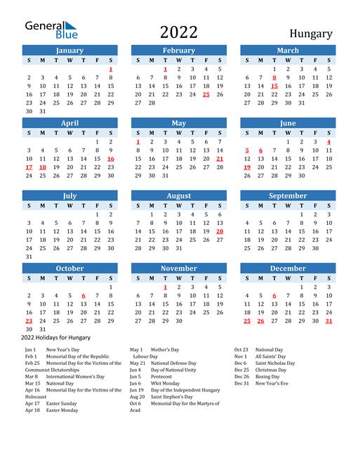Printable Calendar 2022 with Hungary Holidays