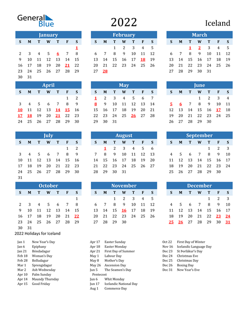 Printable Calendar 2022 with Iceland Holidays