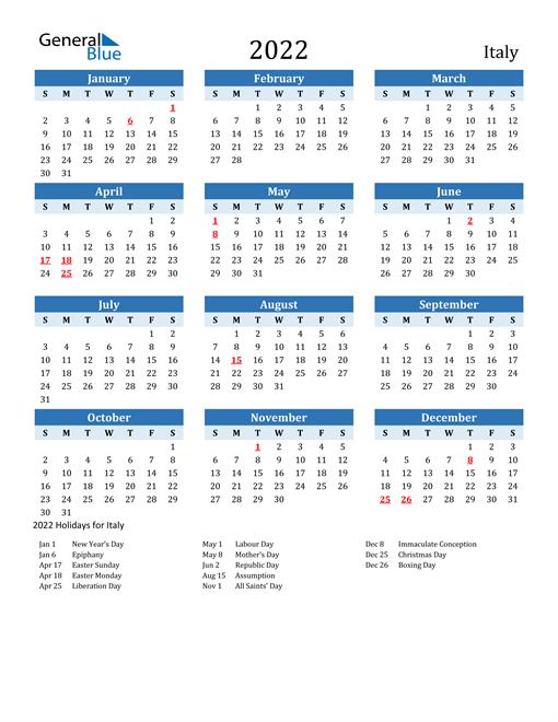 Printable Calendar 2022 with Italy Holidays