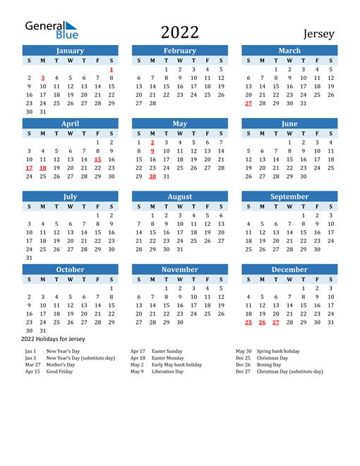 Printable Calendar 2022 with Jersey Holidays