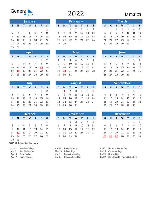 Image of Jamaica 2022 Calendar Two-Tone Blue with Holidays