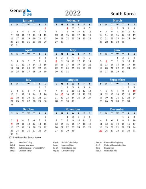 Printable Calendar 2022 with South Korea Holidays