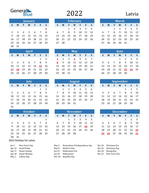 Printable Calendar 2022 with Latvia Holidays