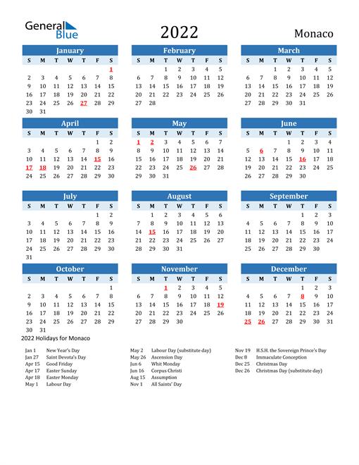 Printable Calendar 2022 with Monaco Holidays