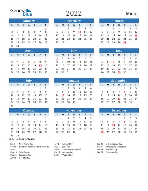 2022 Calendar - Malta with Holidays
