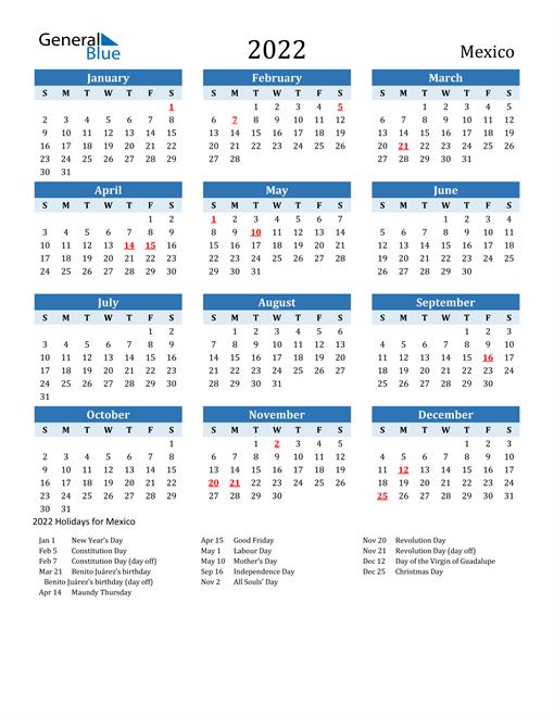 Printable Calendar 2022 with Mexico Holidays