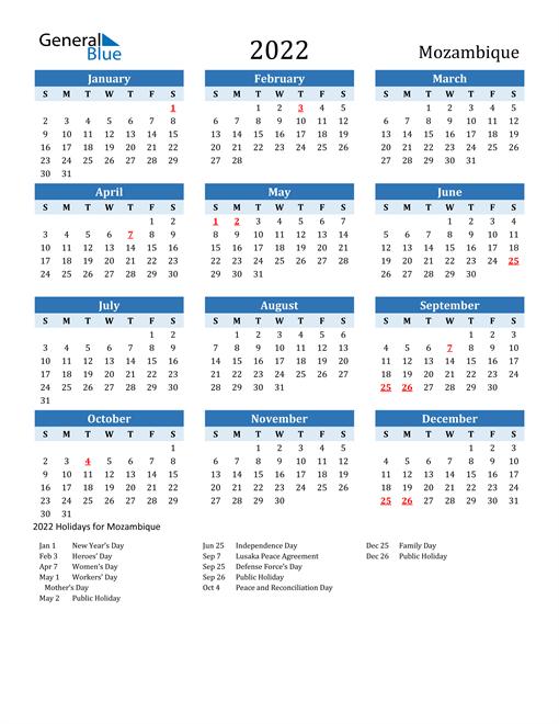 Printable Calendar 2022 with Mozambique Holidays