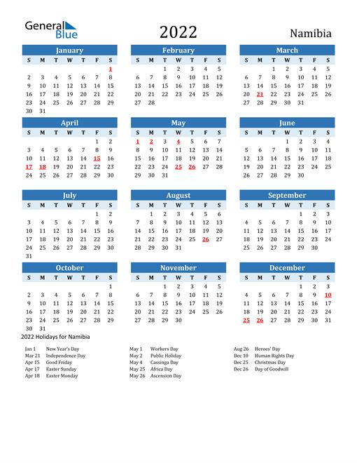 Printable Calendar 2022 with Namibia Holidays