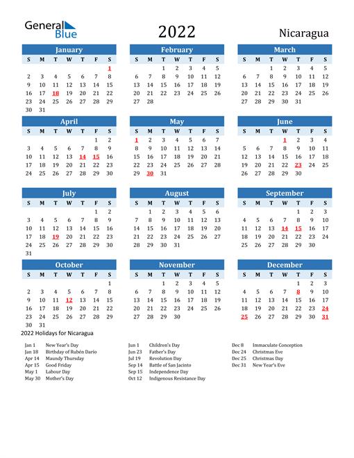 Printable Calendar 2022 with Nicaragua Holidays