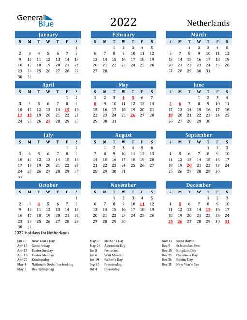 Printable Calendar 2022 with Netherlands Holidays