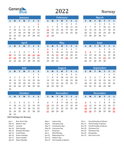 Printable Calendar 2022 with Norway Holidays