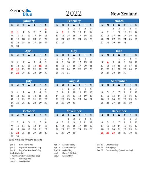 Printable Calendar 2022 with New Zealand Holidays