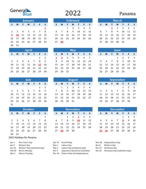 Printable Calendar 2022 with Panama Holidays