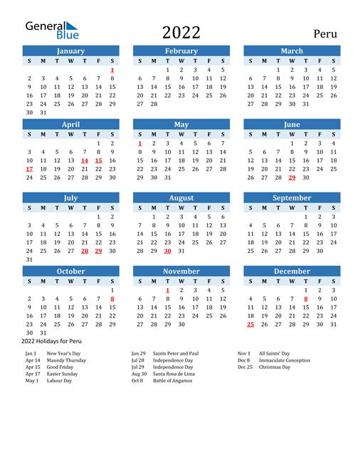 Image of Peru 2022 Calendar Two-Tone Blue with Holidays