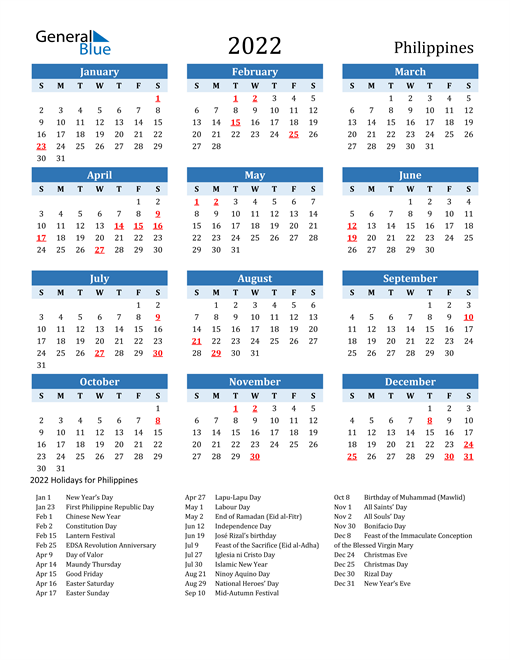 Printable Calendar 2022 with Philippines Holidays