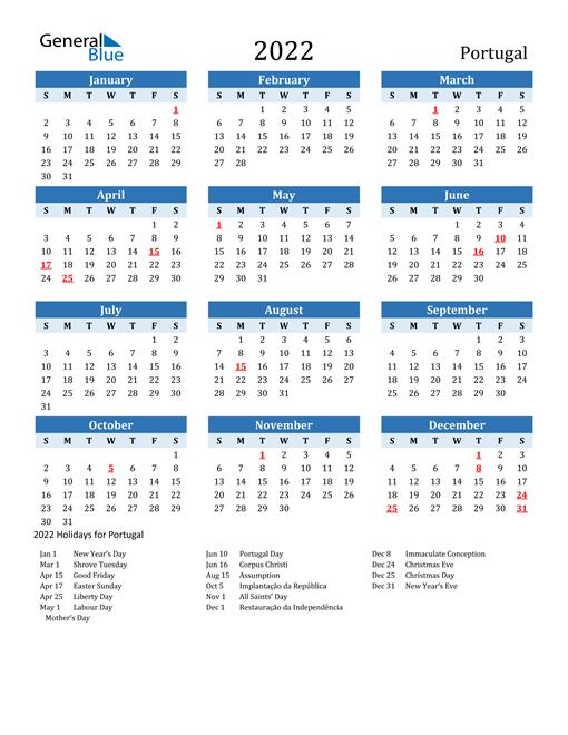 Printable Calendar 2022 with Portugal Holidays