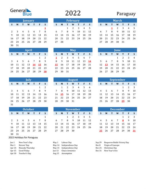 Printable Calendar 2022 with Paraguay Holidays