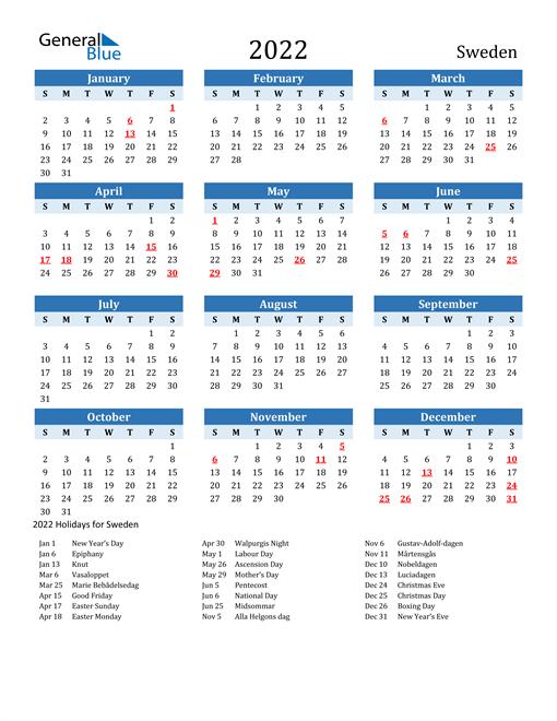 Printable Calendar 2022 with Sweden Holidays