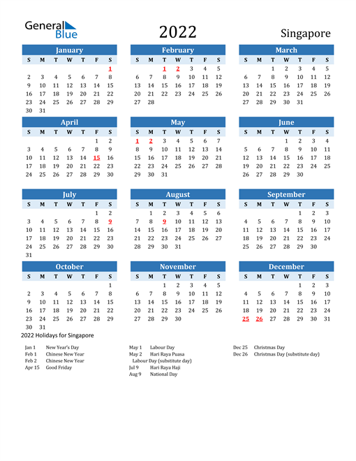 Printable Calendar 2022 with Singapore Holidays