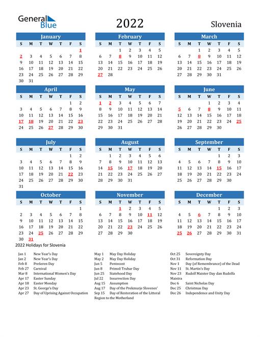 Printable Calendar 2022 with Slovenia Holidays
