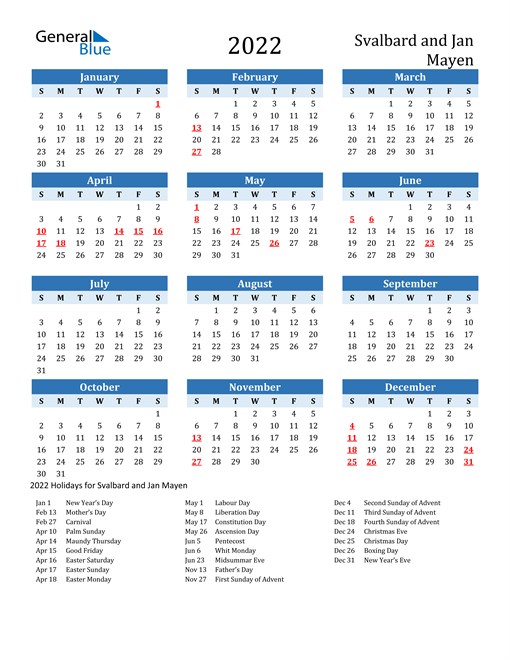 2022 Calendar - Svalbard and Jan Mayen with Holidays