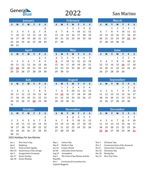 Printable Calendar 2022 with San Marino Holidays