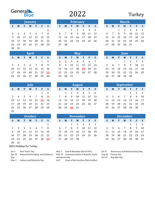 Printable Calendar 2022 with Turkey Holidays