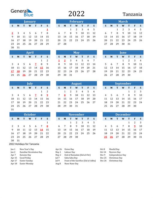 Printable Calendar 2022 with Tanzania Holidays